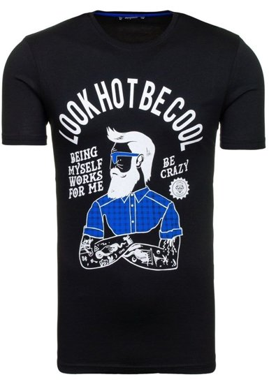 T-shirt męski z nadrukiem czarny Denley 1025