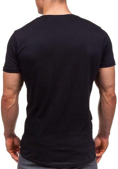 T-shirt męski z nadrukiem czarny Denley 1945