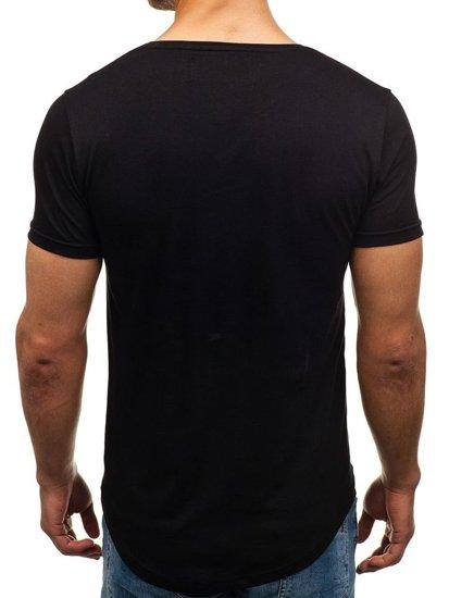 T-shirt męski z nadrukiem czarny Denley 516