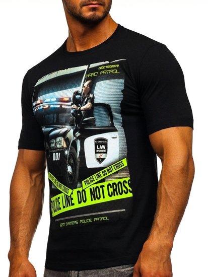 T-shirt męski z nadrukiem czarny Denley 6298