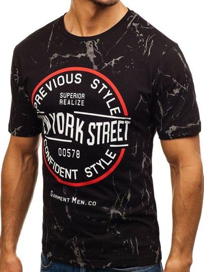 T-shirt męski z nadrukiem czarny Denley 6301