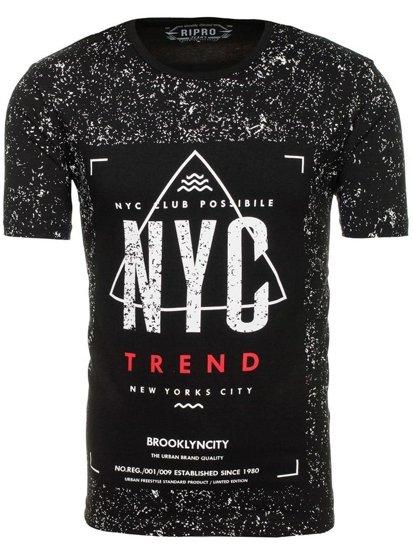 T-shirt męski z nadrukiem czarny Denley 6302