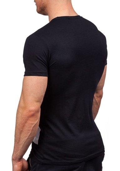 T-shirt męski z nadrukiem czarny Denley 9018