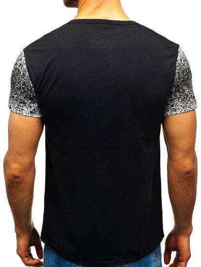 T-shirt męski z nadrukiem czarny Denley SS739