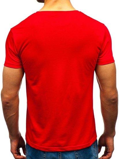 T-shirt męski z nadrukiem czerwony Denley 10819