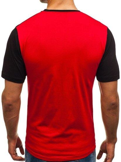 T-shirt męski z nadrukiem czerwony Denley 6309