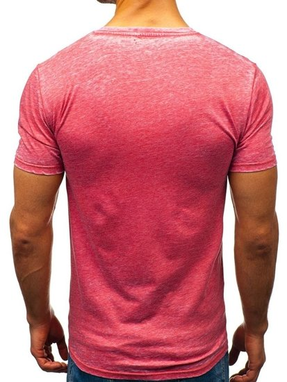 T-shirt męski z nadrukiem czerwony Denley 7645