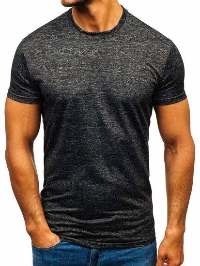 T-shirt męski bez nadruku grafitowy Denley S01