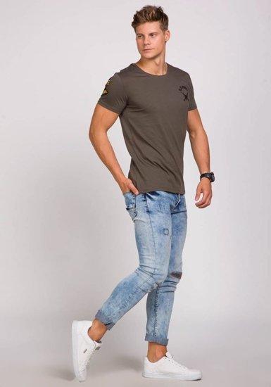 T-shirt męski z nadrukiem khaki Denley 9021