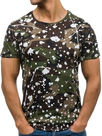 T-shirt męski z nadrukiem moro-zielony Denley 1132