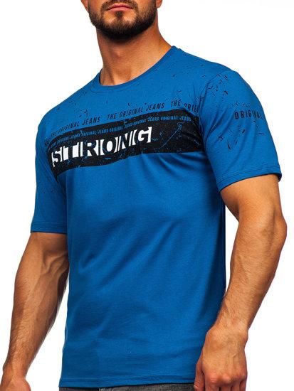 T-shirt męski z nadrukiem niebieski Denley 14204