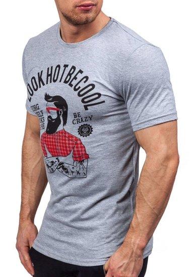 T-shirt męski z nadrukiem szary Denley 1025