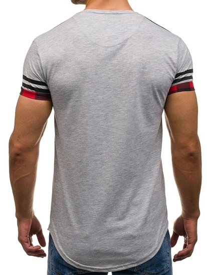 T-shirt męski z nadrukiem szary Denley 2062
