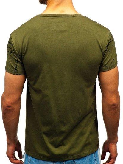 T-shirt męski z nadrukiem zielony Denley SS676