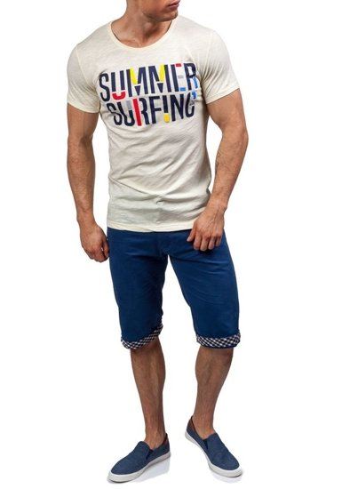 T-shirt męski z nadrukiem żółty Denley 9056