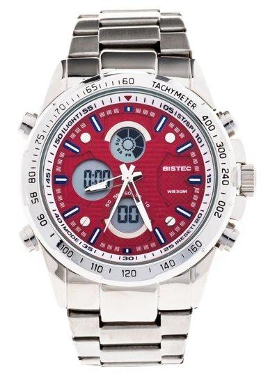 Zegarek męski na rękę stalowy czerwony Denley 210