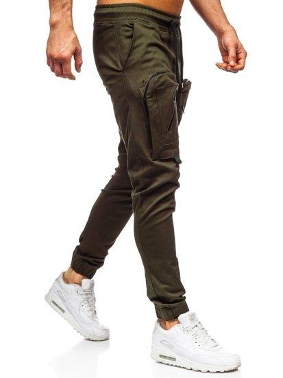 Zielone spodnie joggery męskie Denley 0956