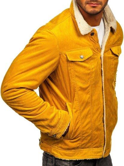 Żółta ocieplana kurtka sztruksowa typu trucker z kołnierzem z kożuszka męska Denley 1179