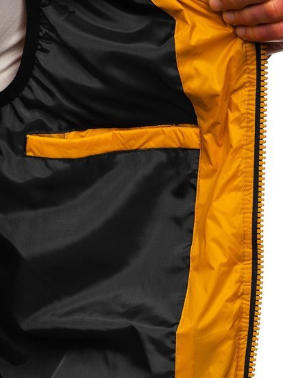 Źółta pikowana kamizelka męska z kapturem Denley 6701