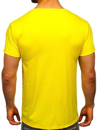 Żółty T-shirt męski z nadrukiem Denley KS1973