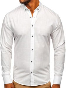 Biała bawełniana koszula męska z długim rękawem Bolf 20701