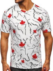 Biały T-shirt męski z nadrukiem Denley 14905