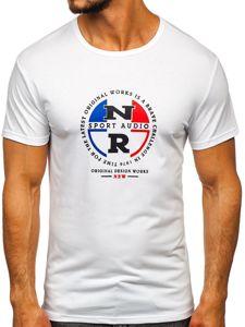 Biały T-shirt męski z nadrukiem Denley SS11092