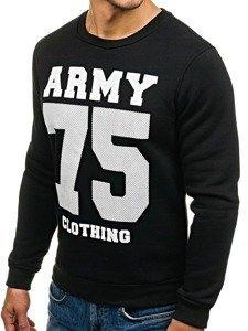 Bluza męska bez kaptura z nadrukiem czarna Denley 0593