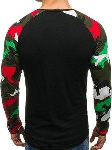 Bluza męska bez kaptura z nadrukiem czarna Denley 1155
