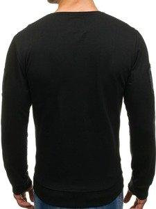 Bluza męska bez kaptura z nadrukiem czarna Denley M06