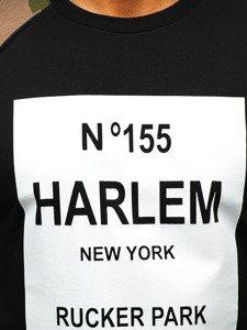 Bluza męska bez kaptura z nadrukiem czarno-zielona Denley 0756