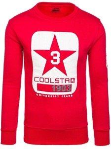 Bluza męska bez kaptura z nadrukiem czerwona Denley J88