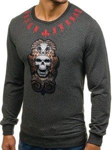 Bluza męska bez kaptura z nadrukiem grafitowa Denley 0906