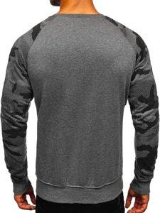 Bluza męska bez kaptura z nadrukiem grafitowa Denley DD04