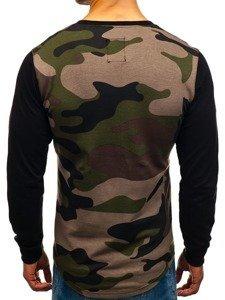 Bluza męska bez kaptura z nadrukiem moro-khaki Denley 0746