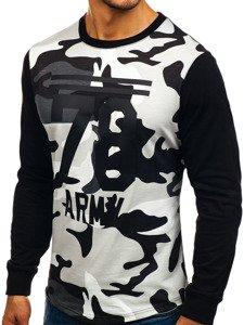 Bluza męska bez kaptura z nadrukiem moro-szara Denley 0746