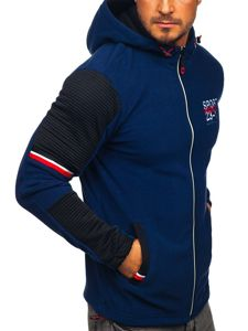 Bluza męska polar z kapturem granatowa Denley YL006