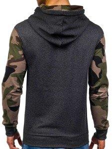Bluza męska z kapturem antracytowo-zielona Denley 0840