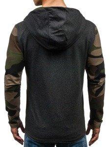 Bluza męska z kapturem grafitowo-zielona Denley 0842
