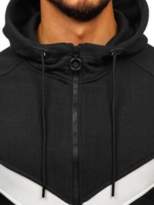 Bluza męska z kapturem rozpinana czarna Denley 88032