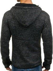 Bluza męska z kapturem rozpinana czarna Denley AK40