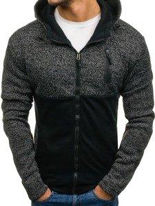 Bluza męska z kapturem rozpinana czarna Denley AK42