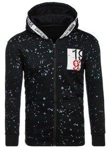 Bluza męska z kapturem rozpinana czarna Denley DD128