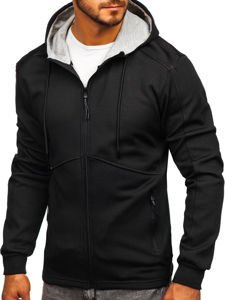 Bluza męska z kapturem rozpinana czarno-szara Denley 88022