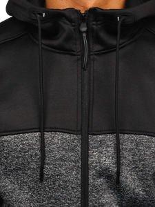 Bluza męska z kapturem rozpinana grafitowa Denley 88008