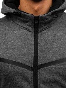 Bluza męska z kapturem rozpinana grafitowa Denley AK74