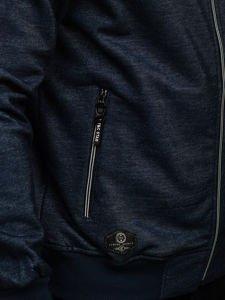 Bluza męska z kapturem rozpinana granatowa Denley TC870-1