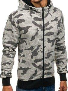 Bluza męska z kapturem rozpinana moro-szara Denley AK36