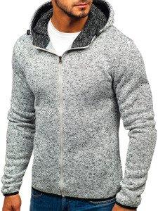 Bluza męska z kapturem rozpinana szara Denley AK29