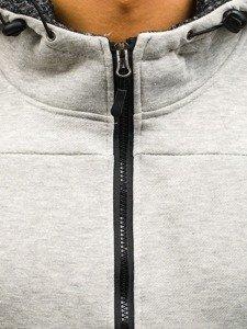 Bluza męska z kapturem rozpinana szara Denley AK50B